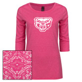 Ladies Dark Fuchsia Heather Tri Blend Lace 3/4 Sleeve Tee-Grizzly Head