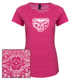 Ladies Dark Fuchsia Heather Tri-Blend Lace Tee-Grizzly Head