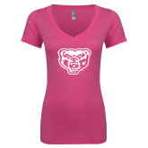 Next Level Ladies Junior Fit Deep V Pink Tee-Grizzly Head