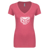 Next Level Ladies Vintage Pink Tri Blend V-Neck Tee-Grizzly Head