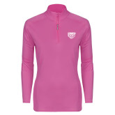 Ladies Syntrel Interlock Raspberry 1/4 Zip-Grizzly Head