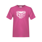 Youth Fuchsia T Shirt-Grizzly Head