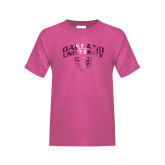 Youth Fuchsia T Shirt-Oakland University with Grizzly Head Foil