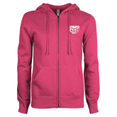 ENZA Ladies Fuchsia Fleece Full Zip Hoodie-Grizzly Head
