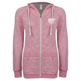 ENZA Ladies Hot Pink Marled Full Zip Hoodie-Grizzly Head