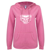 ENZA Ladies Hot Pink V Notch Raw Edge Fleece Hoodie-Grizzly Head