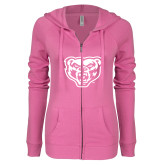 ENZA Ladies Hot Pink Light Weight Fleece Full Zip Hoodie-Grizzly Head