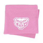 Pink Sweatshirt Blanket-Arched Oakland w/ Grizzly Head