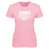Ladies Pink T-Shirt-Grizzly Head