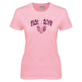 Ladies Pink T-Shirt-Oakland University with Grizzly Head Foil