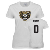 Ladies White T Shirt-Grizzly Head, Custom Tee w/ Name and #
