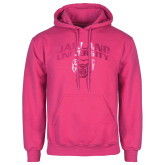 Fuchsia Fleece Hoodie-Oakland University with Grizzly Head Foil