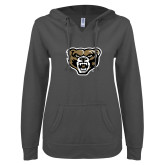 ENZA Ladies Dark Heather V Notch Raw Edge Fleece Hoodie-Grizzly Head