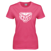 Ladies Fuchsia T Shirt-Grizzly Head
