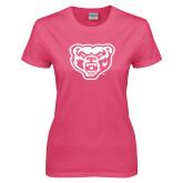 Ladies Fuchsia T Shirt-Grizzly Head
