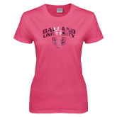 Ladies Fuchsia T Shirt-Oakland University with Grizzly Head Foil