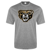 Performance Grey Heather Contender Tee-Grizzly Head