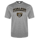 Performance Grey Heather Contender Tee-Oakland University with Grizzly Head