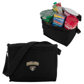 Koozie Six Pack Black Cooler-Arched Oakland w/ Grizzly Head
