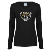 Ladies Black Long Sleeve V Neck T Shirt-Grizzly Head