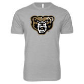Next Level SoftStyle Heather Grey T Shirt-Grizzly Head