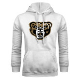 White Fleece Hoodie-Grizzly Head