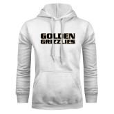 White Fleece Hoodie-Golden Grizzlies Stacked