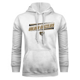White Fleece Hoodie-Slanted Golden Grizzlies Stencil