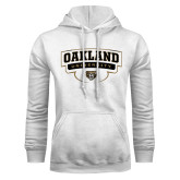 White Fleece Hoodie-Arched Oakland University Stacked