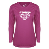 Ladies Syntrel Performance Raspberry Longsleeve Shirt-Grizzly Head