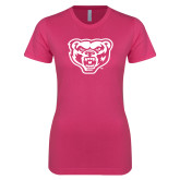 Ladies SoftStyle Junior Fitted Fuchsia Tee-Grizzly Head