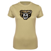 Ladies Syntrel Performance Vegas Gold Tee-Grizzly Head