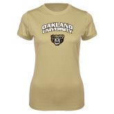Ladies Syntrel Performance Vegas Gold Tee-Oakland University with Grizzly Head