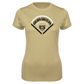 Ladies Syntrel Performance Vegas Gold Tee-Golden Grizzlies Baseball Diamond
