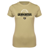 Ladies Syntrel Performance Vegas Gold Tee-Golden Grizzlies Volleyball Half Ball