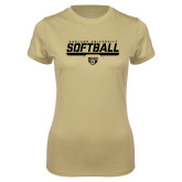 Ladies Syntrel Performance Vegas Gold Tee-Softball Stencil