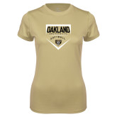 Ladies Syntrel Performance Vegas Gold Tee-Oakland University Softball Plate