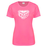 Ladies Performance Hot Pink Tee-Grizzly Head