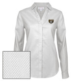 Ladies Red House Diamond Dobby White Long Sleeve Shirt-Grizzly Head