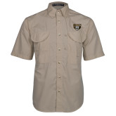 Khaki Short Sleeve Performance Fishing Shirt-Grizzly Head