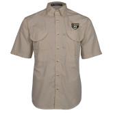 Khaki Short Sleeve Performance Fishing Shirt-Grizzly Head