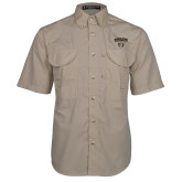 Khaki Short Sleeve Performance Fishing Shirt-Oakland University with Grizzly Head
