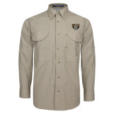 Khaki Long Sleeve Performance Fishing Shirt-Grizzly Head