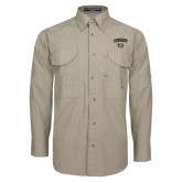 Khaki Long Sleeve Performance Fishing Shirt-Oakland University with Grizzly Head