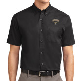 Black Twill Button Down Short Sleeve-Oakland University with Grizzly Head