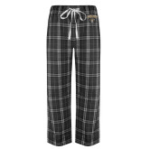 Black/Grey Flannel Pajama Pant-Oakland University with Grizzly Head