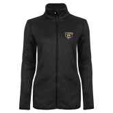 Black Heather Ladies Fleece Jacket-Grizzly Head