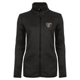 Black Heather Ladies Fleece Jacket-Grizzly Head