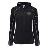 Columbia Ladies Sweet As Black Hooded Jacket-Oakland University with Grizzly Head