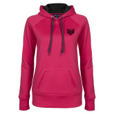 Ladies Pink Raspberry Tech Fleece Hoodie-Grizzly Head